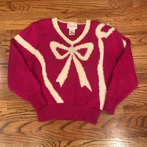 Vintage Sweater Bow/Pearls Rare Fuscia and Ivory
